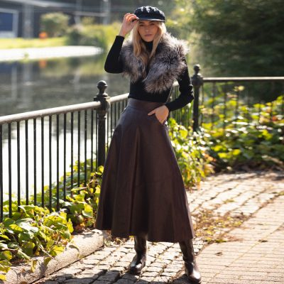 Plum A Line Leather Skirt