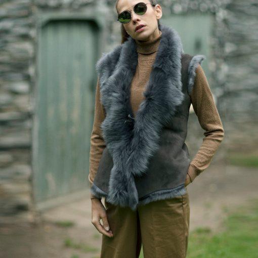 Venessa Grey Leather Tie Sheepskin Gilet