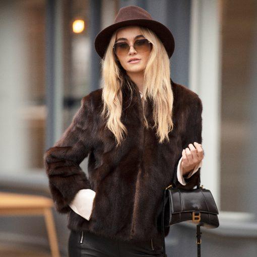 Vintage Brown Mink Fur Amber Jacket