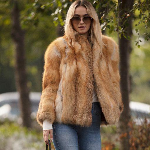 Vintage Red Fox Fur Peggy Jacket
